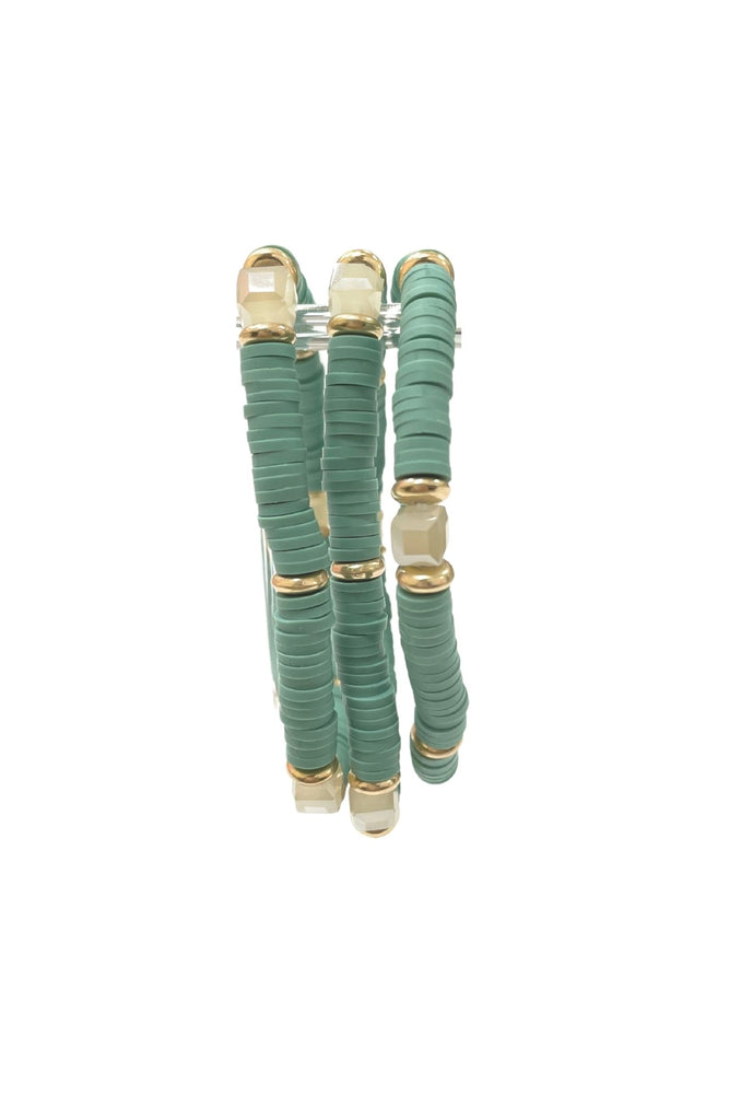 Teal Bracelet Set w/ Natural Stone Accent Beads