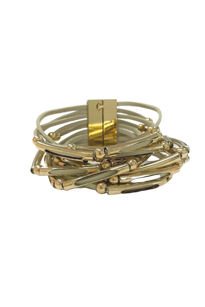 Gold and Leather Magnetic Closure Bracelet Stack