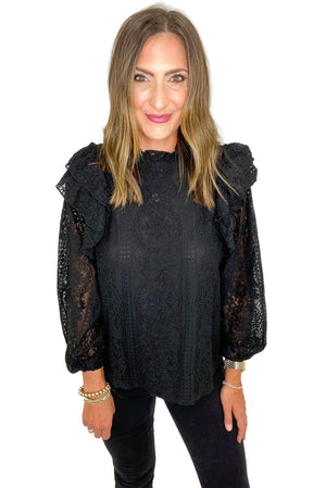 Load image into Gallery viewer, Black Lace Long Sleeve Top w/ Ruffle Details *FINAL SALE*
