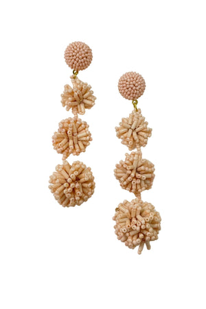 Light Pink Triple Drop Beaded Earrings