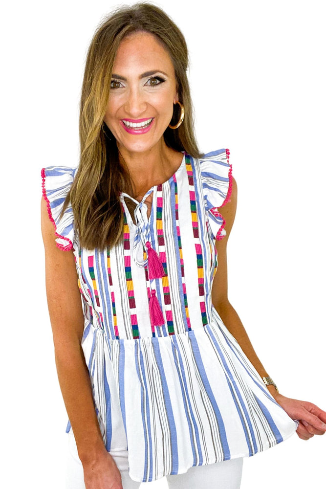 Blue Stripe Flutter Sleeve Top w/ Vertical Embroidery