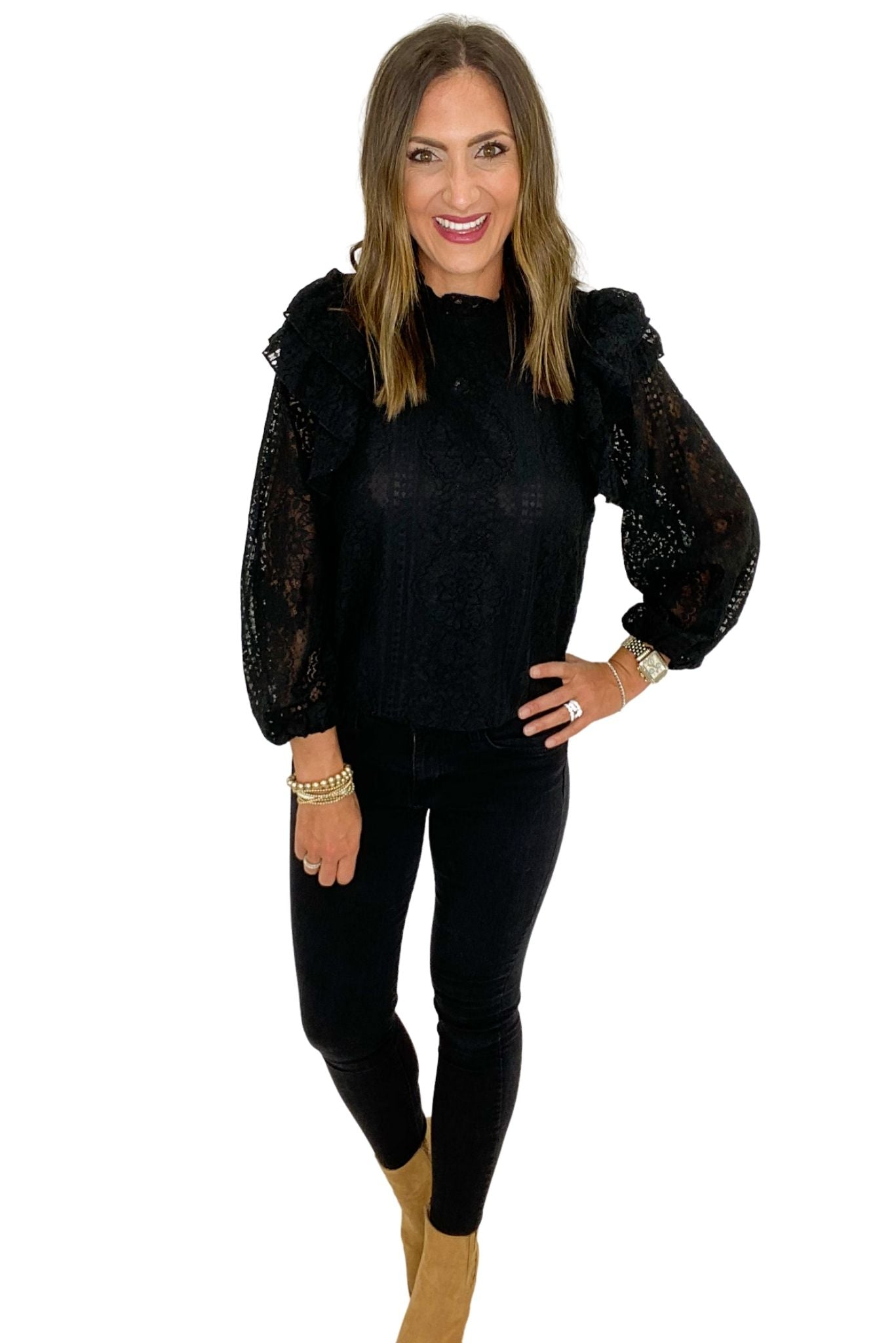 Black Lace Long Sleeve Top w/ Ruffle Details