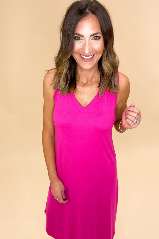 Load image into Gallery viewer, fuchsia v neck scoop hem midi dress, spring dresses, bright colors, outfit inspiration, shop style your senses by mallory fitzsimmons