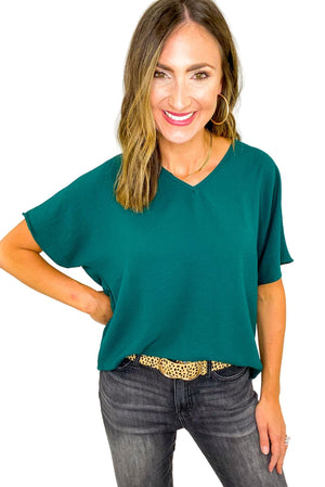 Load image into Gallery viewer, Hunter Green V Neck Short Sleeve Top