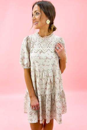 Load image into Gallery viewer, Beige Floral Puff Sleeve Dress w/ Eyelet Bib