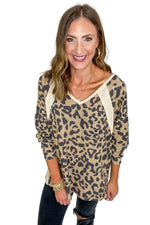 Waffle Knit Animal Print Long Sleeve Top
