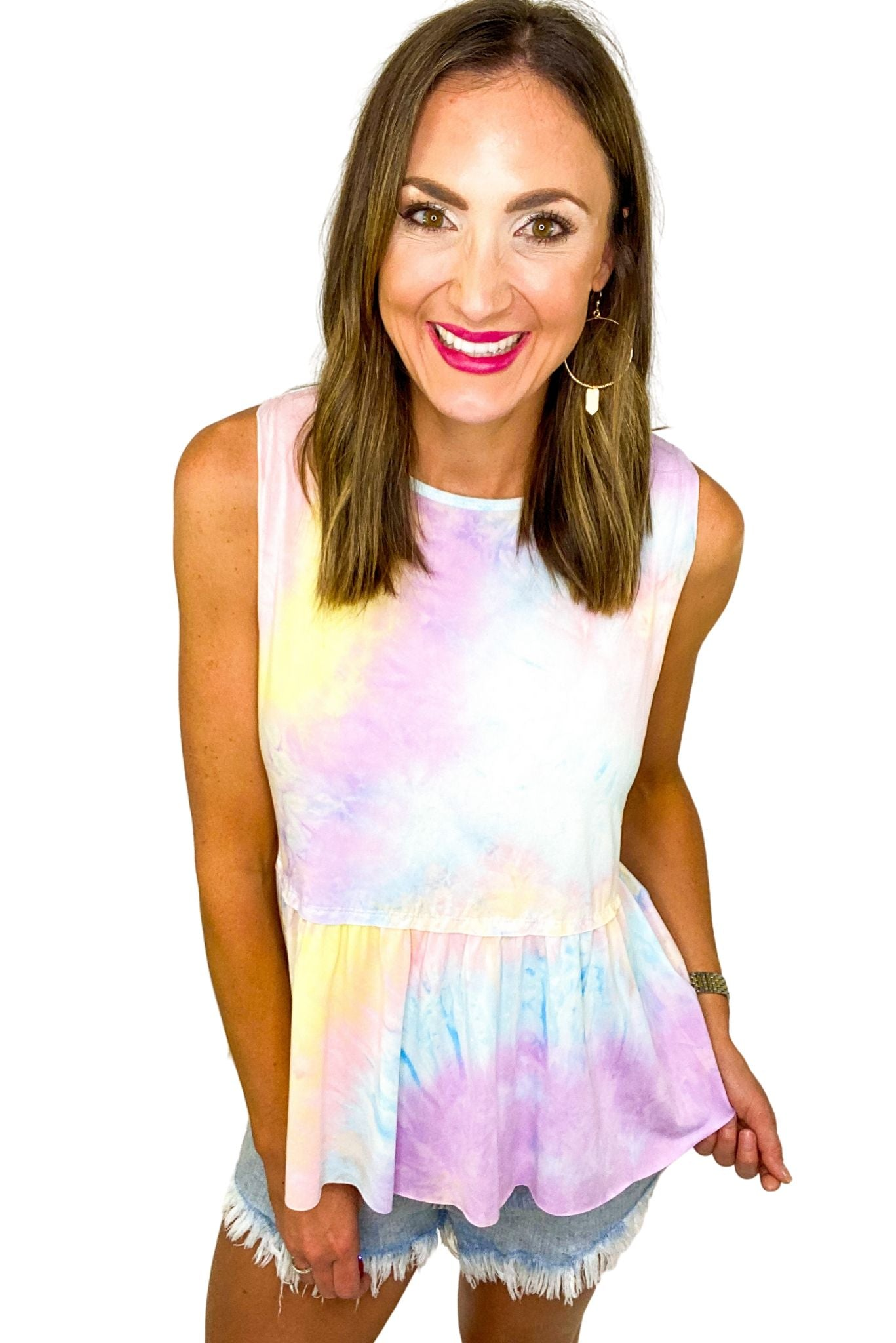 Cotton Candy Tie Dye Peplum Tank *FINAL SALE*