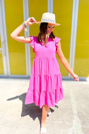 hot pink tiered flutter sleeve dress, spring dresses, bright colors, Sunday outfits, shop style your senses by mallory fitzsimmons