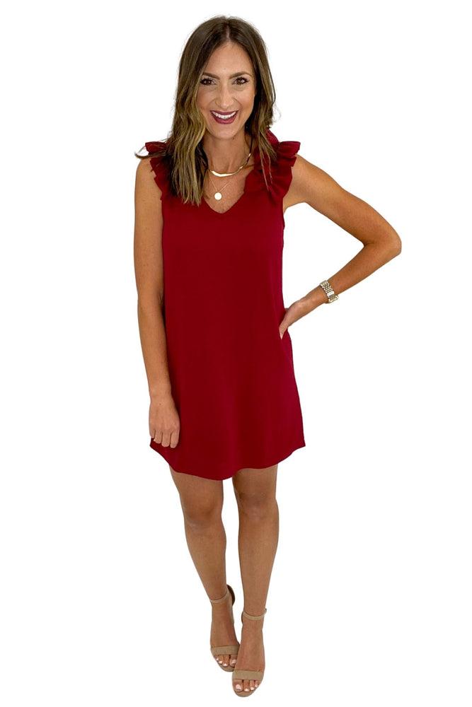 Ruby Solid Sleeveless V-neck Dress w/ Ruffle Detail