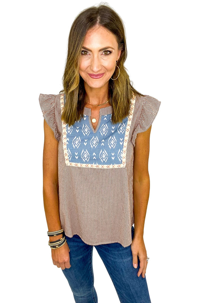 Rust Striped V Neck Top w/ Aztec Print
