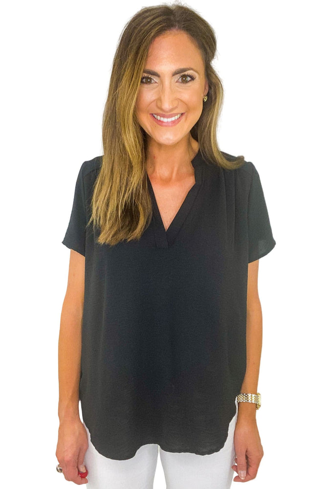 Black Short Sleeve V Neck Top