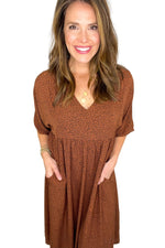 chestnut mini animal print peasant dress, spring dresses, shop style your senses by mallory fitzsimmons