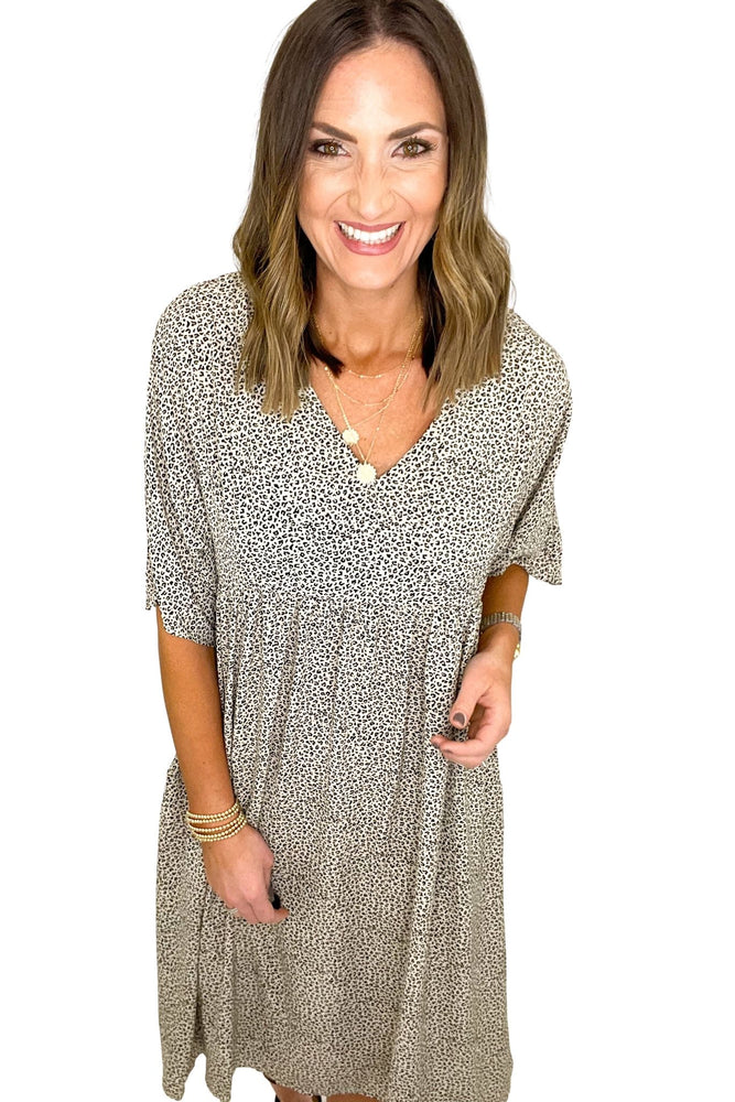 ivory mini animal print peasant dress, spring dresses, shop style your senses by mallory fitzsimmons