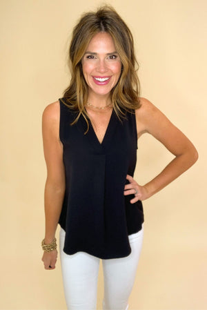 black v neck sleeveless top, white skinny jeans, closet staples, work to weekend, shop style your senses by mallory fitzsimmons