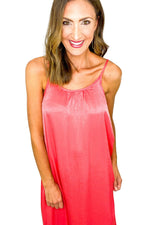 Coral Silky Slip Dress