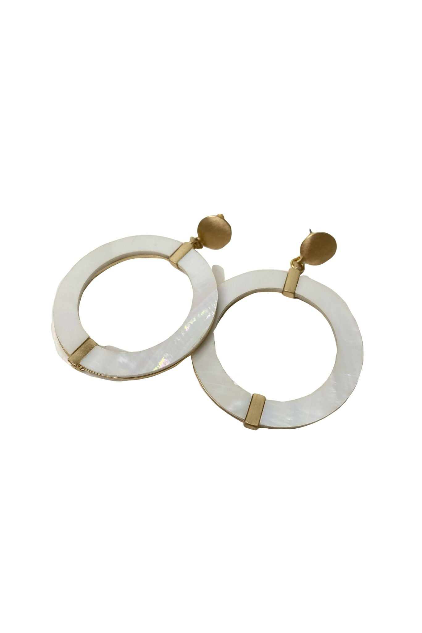 Gold Stud Hoops w/ Mother of Pearl Insets