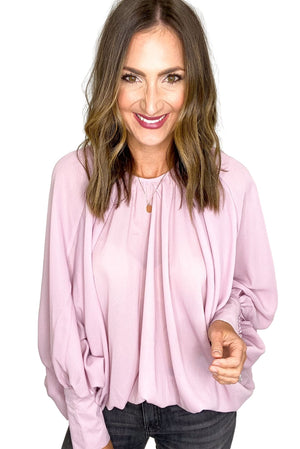 Dusty Pink Shirred Cuff Sleeve Oversized Blouse *FINAL SALE*