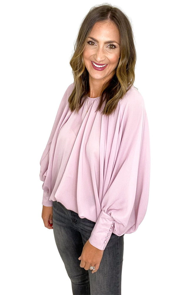 Load image into Gallery viewer, Dusty Pink Shirred Cuff Sleeve Oversized Blouse *FINAL SALE*
