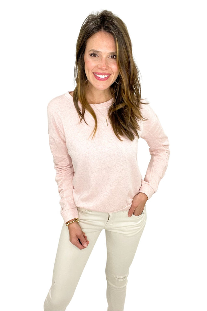 light pink ruched sleeve sweatshirt, off white denim, cozy tops, shop style your senses by mallory fitzsimmons