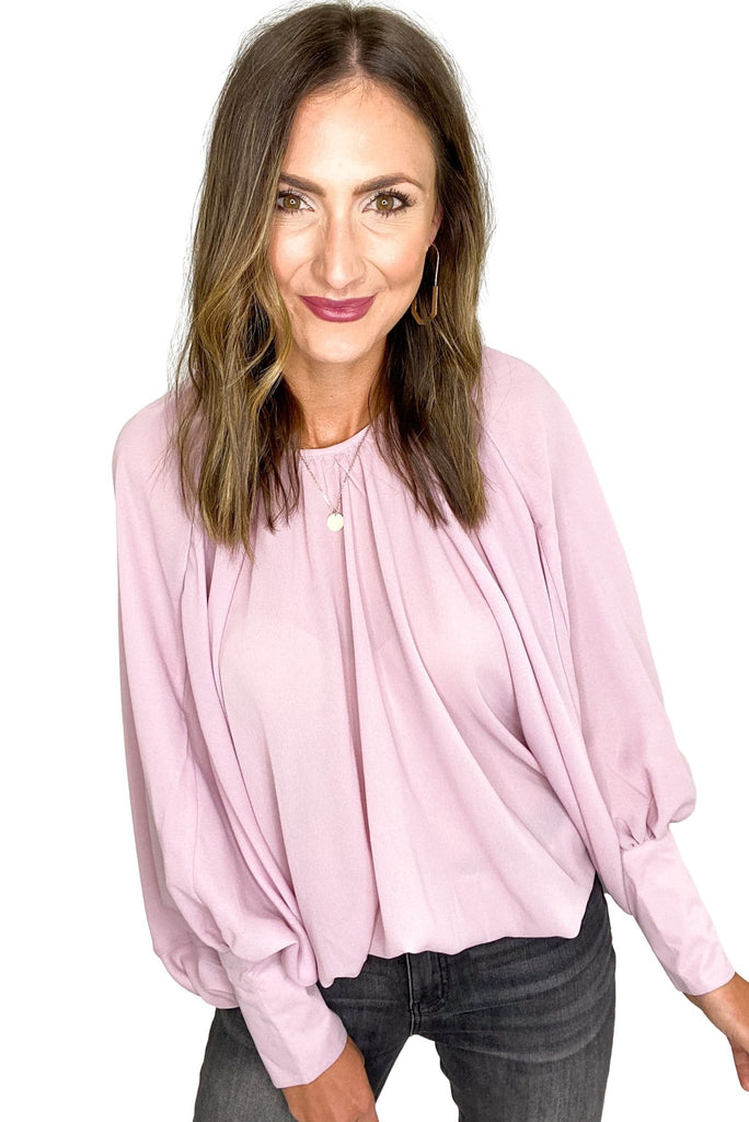 Dusty Pink Shirred Cuff Sleeve Oversized Blouse