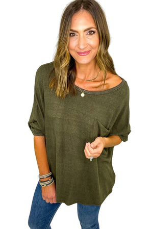 Load image into Gallery viewer, Brushed Olive Long Sleeve Top w/ Pocket