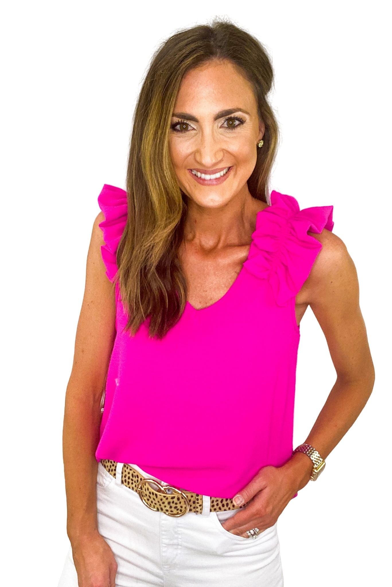 Hot Pink Ruffle Shoulder Top