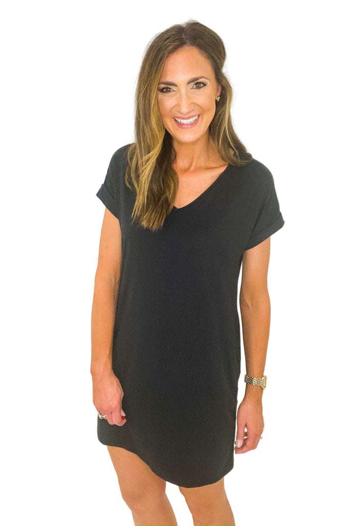 Black V Neck Short Sleeve Dress w/ Cuffed Sleeves