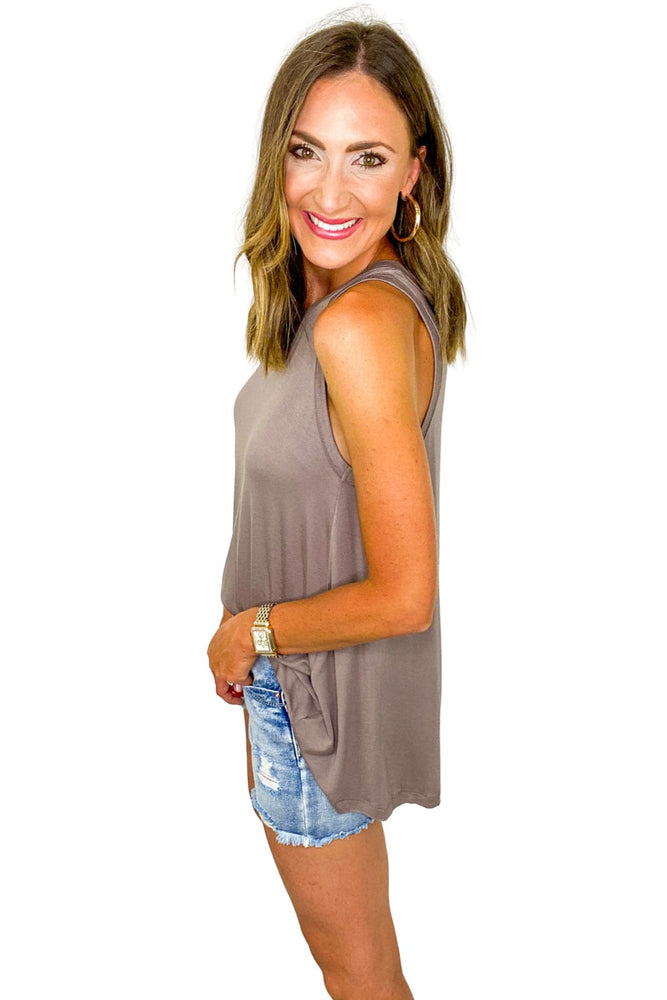 Load image into Gallery viewer, Dark Taupe Basic Trapeze Tank *FINAL SALE*