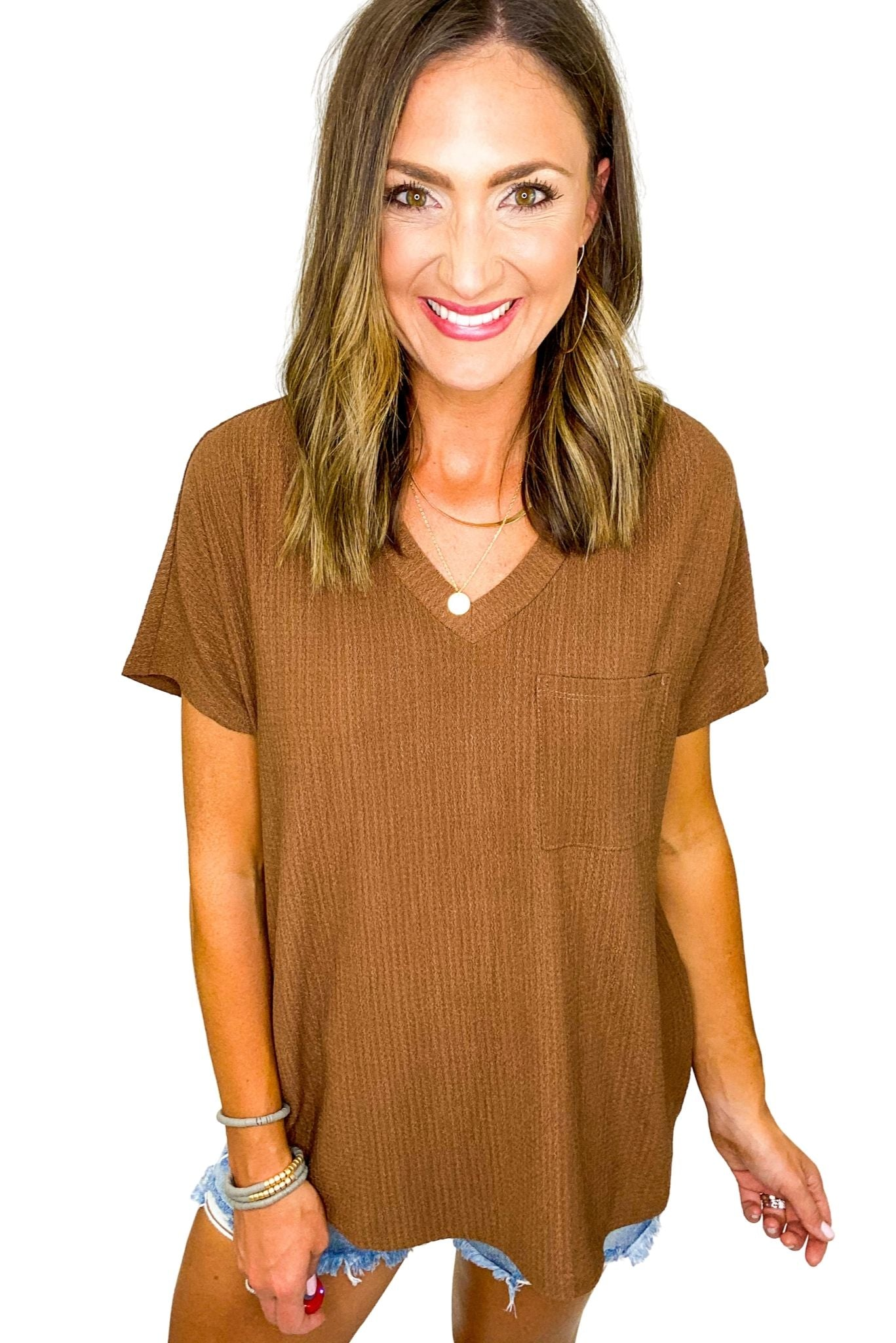 Brown Waffle Knit Tee w/ Pocket