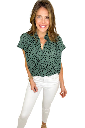 sage spotted button down top, spring tops, white skinny jeans, shop style your senses by mallory fitzsimmons
