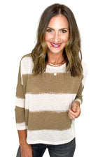 Taupe Striped Lightweight Sweater
