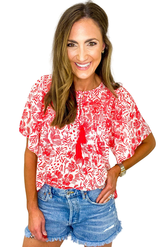Red Print Babydoll Top w/ Tassels