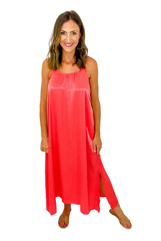 Coral Silky Slip Dress *FINAL SALE*