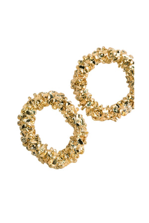 Textured Gold Open Circle Stud Earrings