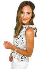 Black and White Spotted Cami w/ Tie Shoulders