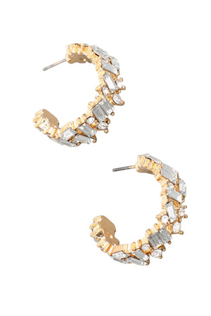 Load image into Gallery viewer, Gold and Rhinestone Open Hoop Earrings