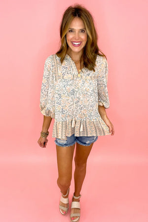 dusty floral long sleeve top with neck tie, distressed denim shorts, boho chic, trendy outfits, shop style your senses by mallory fitzsimmons