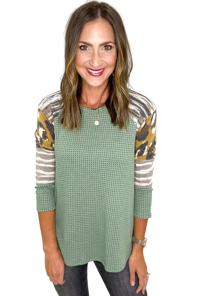 Sage Waffle Top w/ Mixed Pattern Sleeves *FINAL SALE*
