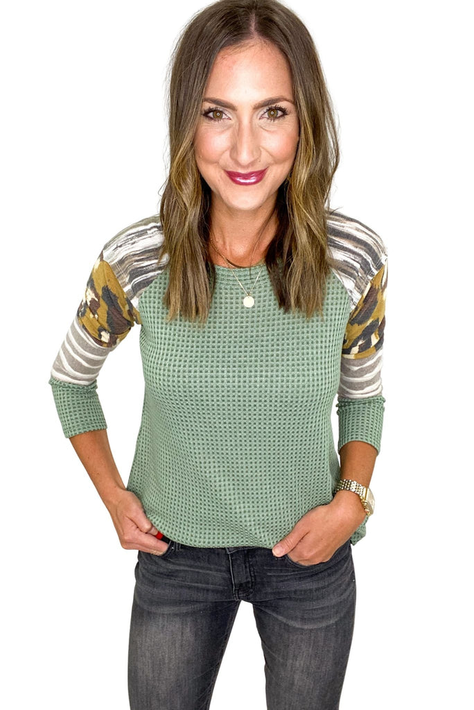 Sage Waffle Top w/ Mixed Pattern Sleeves