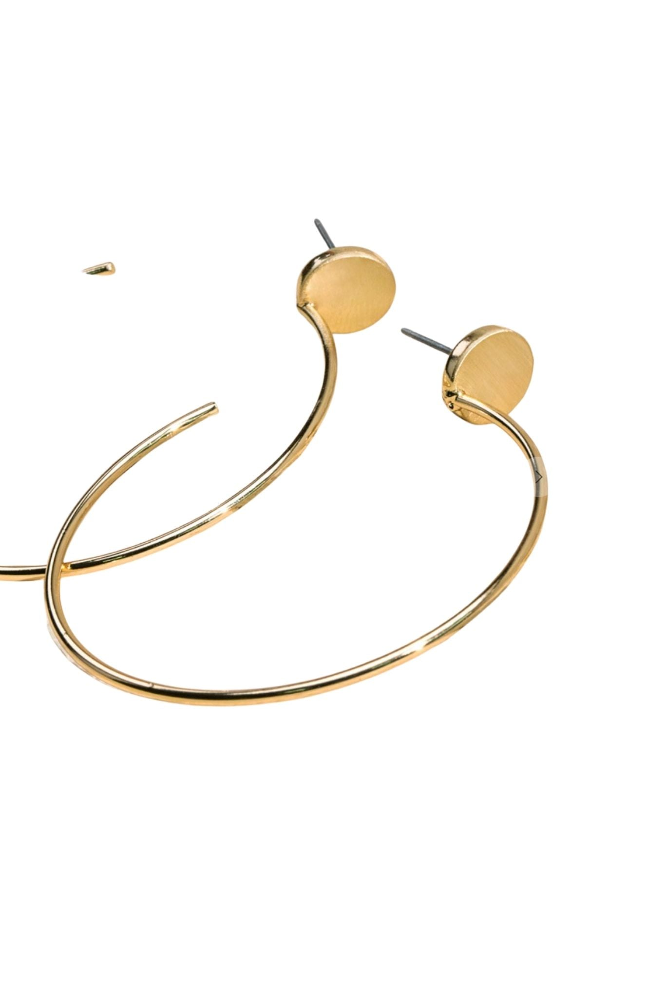 Gold Hoops with Round Post Earrings