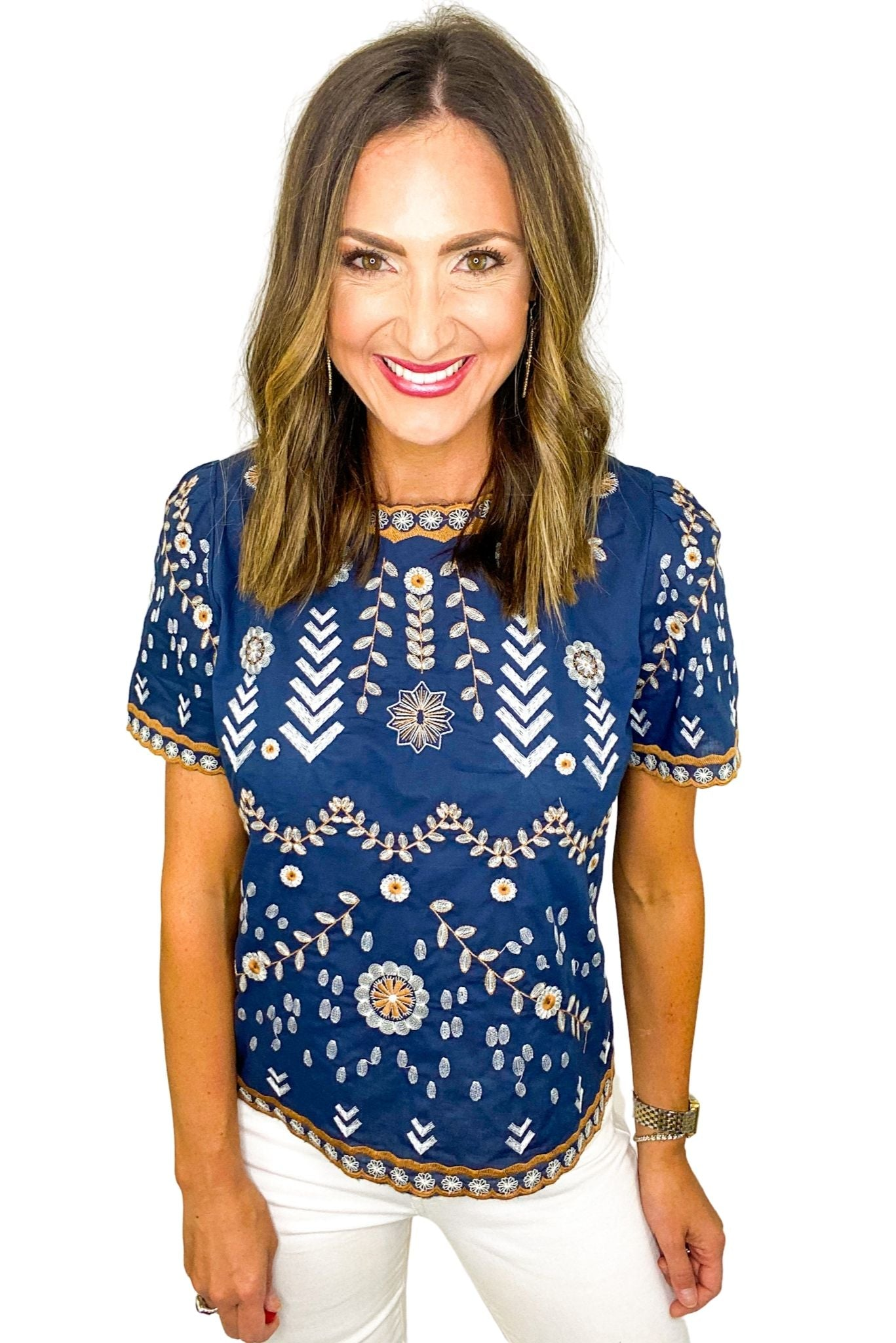 Navy and Neutral Embroidered Top
