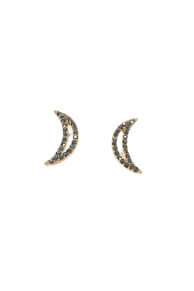 Gold Pave Curved Bar Earrings