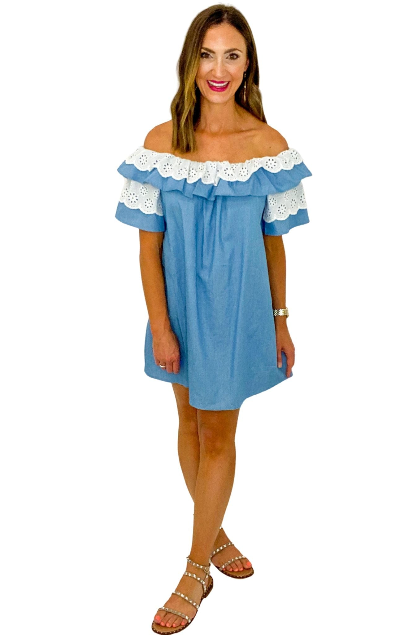 Off the Shoulder Denim Dress w/ Eyelet Trim *FINAL SALE*