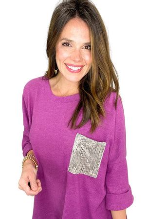 magenta relaxed top w/ sequin pocket, off white skinny jeans, spring tops, shop style your senses by mallory fitzsimmons