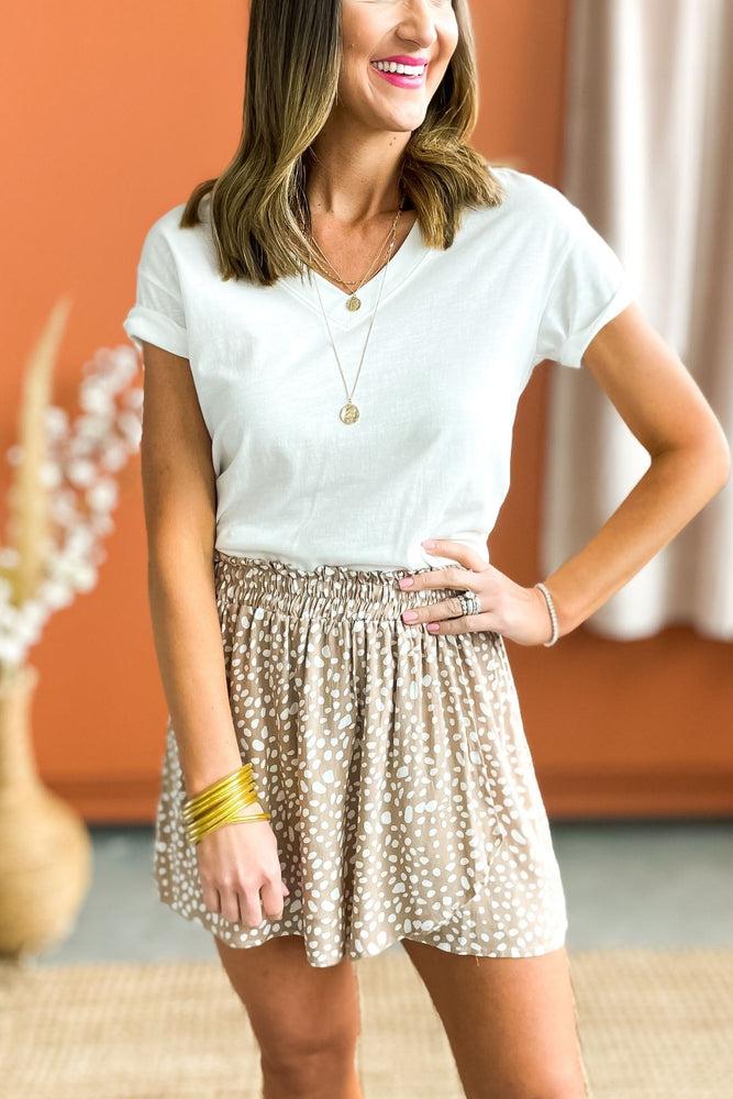 taupe spotted overlay skort, brighter days collection, outfit inspiration, mom style, easy to wear, shop style your senses by mallory fitzsimmons