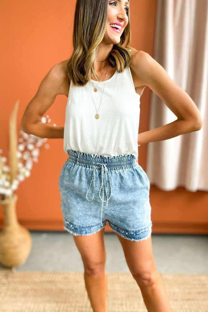 washed denim shorts with smocked waist, brighter days collection, summer outfits, mom style, shop style your senses by mallory fitzsimmons