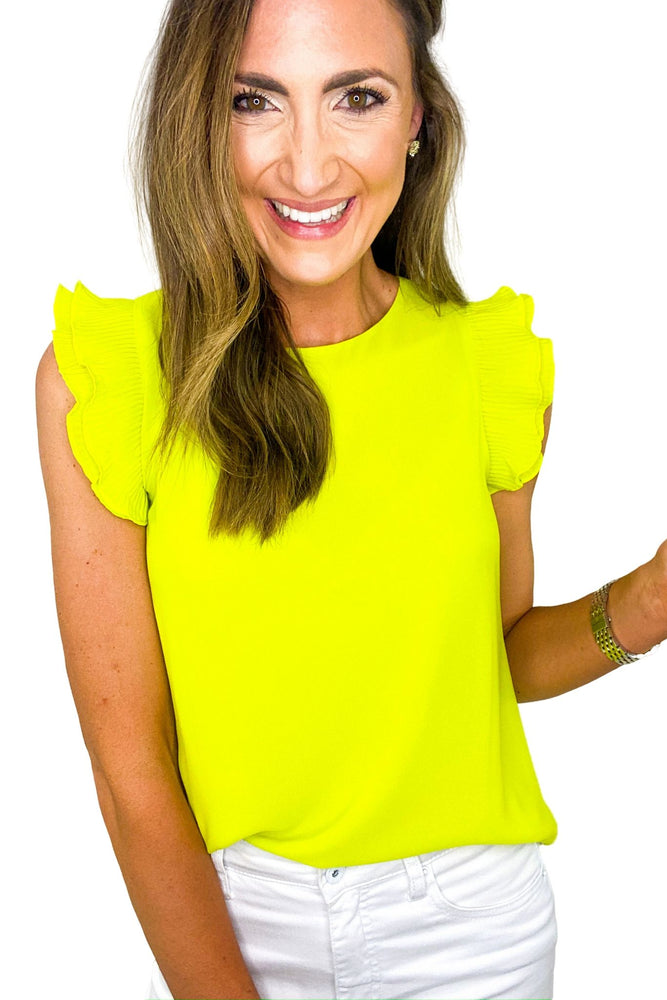 Lime Green Pleated Ruffle Sleeve Top