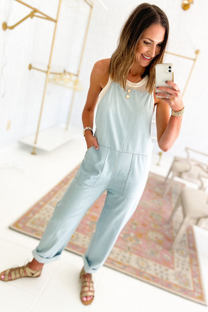 light denim overalls jumpsuit, spring trends, gladiator sandals, shop style your senses by mallory fitzsimmons