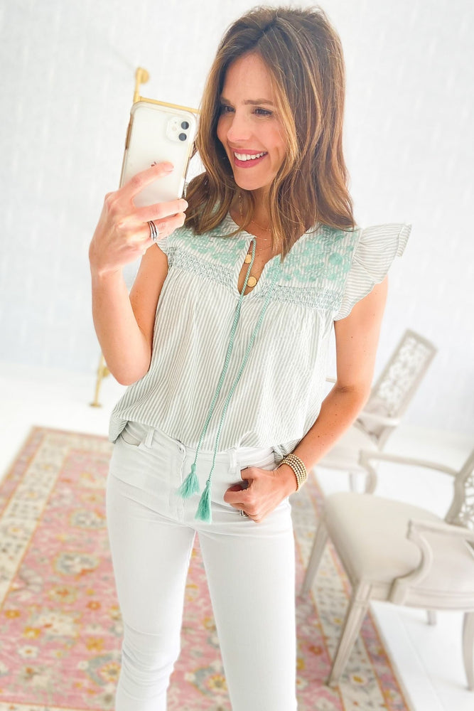 mint stripe flutter sleeve top with embroidery, spring tops, white skinny jeans, shop style your senses by mallory fitzsimmons