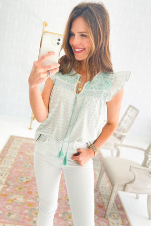 Load image into Gallery viewer, mint stripe flutter sleeve top with embroidery, spring tops, white skinny jeans, shop style your senses by mallory fitzsimmons